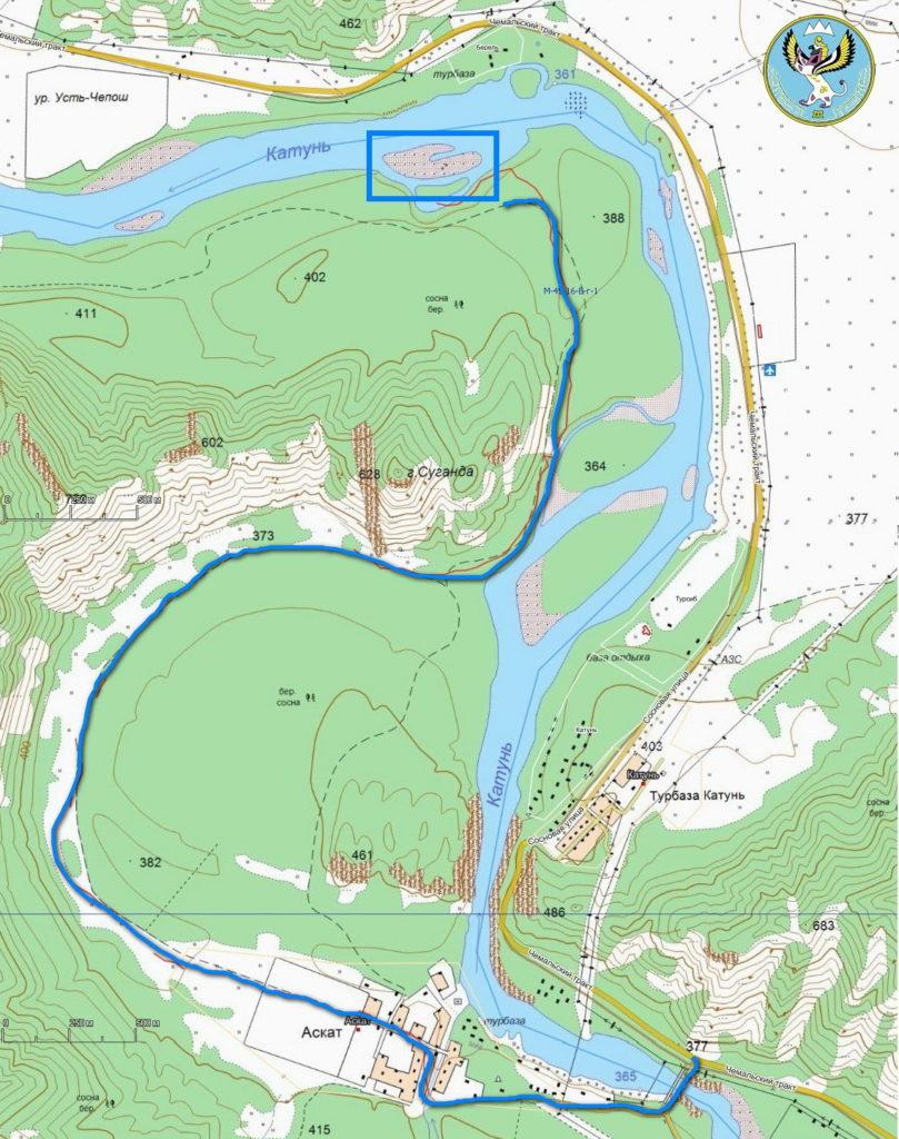 Голубые озера Аскат на карте